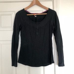 Lucy Black Henley Long Sleeve Top
